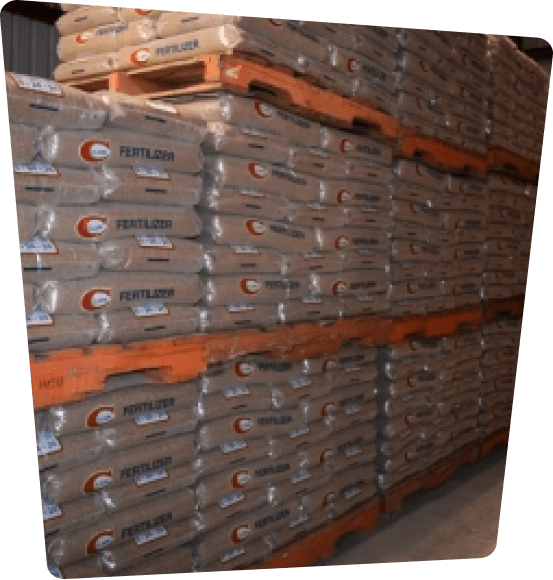 Bags of fertilizer in a warehouse